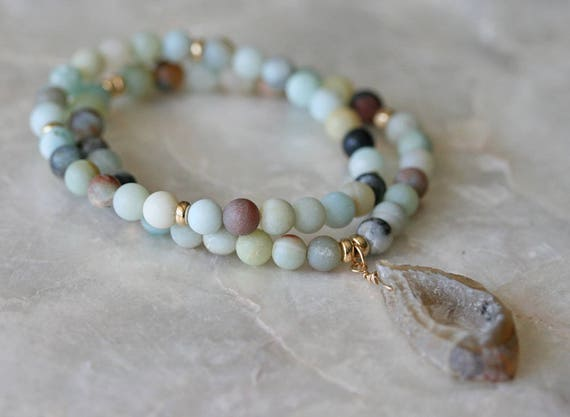 Geode Bracelet, Amazonite Bracelet, Stretch Bracelet, Stacking Bracelet, Beaded Bracelet, Layered Bracelet, Matt Amazonite Bracelet