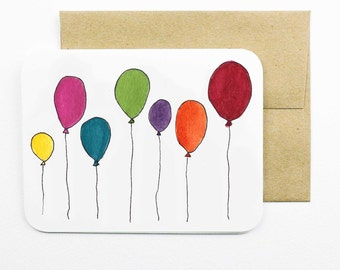 Balloons 2 Card with envelope | Balloons | Balloons with strings | Birthday card | Greeting card | Colourful