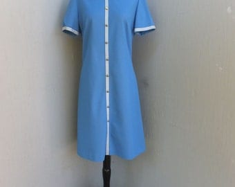 Vintage 1970s Shift Dress, Knit Dress, Career or School Day Dress, Blue Dress