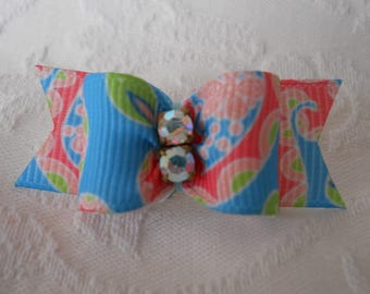 "DOG BOW-  5/8"" Crystal Springs Paisley Dog Bow"