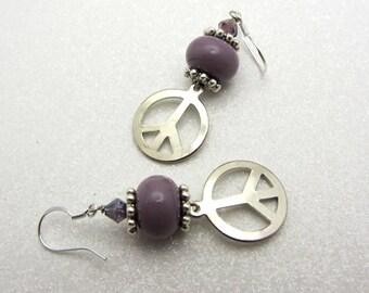 Purple Lampwork Earrings Peace Sign Glass Bead Earrings Dangle Drop Earrings SRAJD USA Handmade Peace Earrings