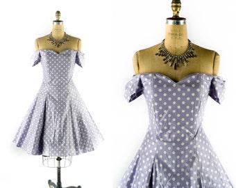 "Vintage 80s Dress // 1980s Dress // 50s Style Dress // LAURA ASHLEY Dress // Off the Shoulder Dress // Polka Dot Dress - sz M - 29"" Waist"