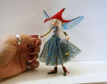 ooak poseable little red hat tinkle bell PIXIE fairy ( #9 ) polymer clay art doll by DinkyDarlings   faerie faery angel
