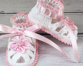 Crocheted White & Pink Baby Booties Sandals - 3-6 mos.