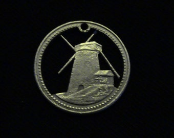Barbados - cut coin pendant - Windmill = 1974