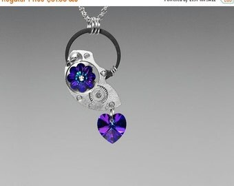 Steampunk Pendant, Swarovski Necklace, Heliotrope Swarovski Crystals, Asymmetrical Jewelry, Iridescent Crystals, Watch Parts, Machine v16