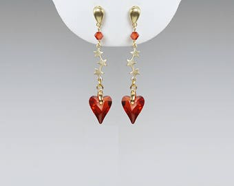 Red Magma Swarovski Crystal Heart Earrings, Brass Stars, Red Magma Wild Hearts, Girly Earrings,  Stud Earrings, Crystal, Drop Earrings
