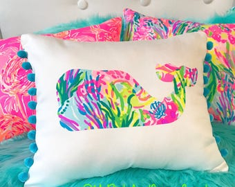 New custom Made To Order Whale Pillow made with Lilly Pulitzer Multi Fan Sea Pants