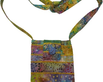 Small Batik Purse in Multicolor Fabrics with Adjustable Straps