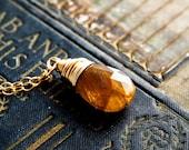 Topaz Necklace, Imperial Topaz Necklace, Golden, Golden, Wire Wrapped, Imperial Topaz, Threads, Gold, PoleStar, Gemstone