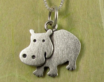 Tiny hippo necklace / pendant