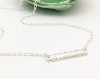 Silver Patterned Bar Necklace - N412SS