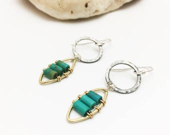 Mixed Metal & Turquoise Dangle Earrings- Bohemian, Unique, Silver, Gold Filled- E555SG - handcrafted by cristysjewelry on etsy