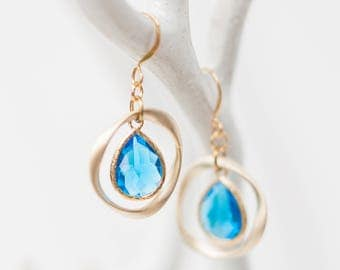 Gold teardrop earrings, aqua blue glass,  ring, unique, organic, circle, universe, nature-inspired jewelry, handmade in Santa Cruz