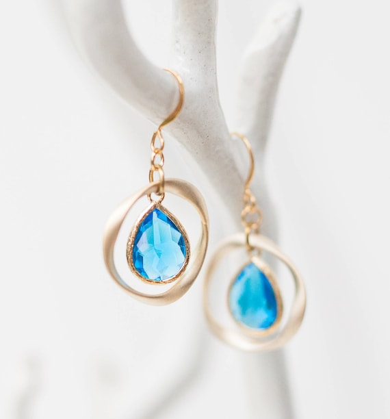 Ocean blue Gold ring earrings