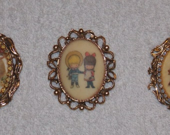 Vintage lot 3 brooches, oval gold tones stones boy on swing girl/boy and lady Originals