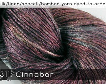 DtO 311: Cinnabar (a RavensWing color) on Silk/Linen/Seacell/Bamboo Yarn Custom Dyed-to-Order