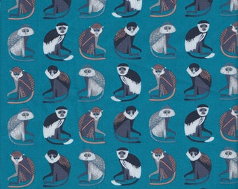Blend Fabrics Bwindi Forest Monkeys of Bwindi in Turquoise - Half Yard