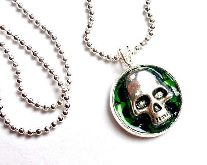 Skull Necklace, Skull Choker, Silver Skull Pendant, 16mm Goth Silver Skull Pendant with 24 inch Silver Chain, Adjustable Skull Necklace