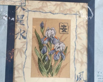 "OOP New  2000 Dimensions Matted Accent # 6869  Oriental Irises  With Mat 8"" x 10"" or 4"" x 6"" Opening Ouverture."