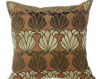 Decorative Throw Pillow Covers Accent Pillow Couch Toss Sofa Pillow 16x16 Brown, Light Gold Velvet Applique Pillow - Lotus Browns