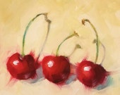 "Small Original Oil Painting, Red Cherries, 6 x 6"", Unframed, Wall Art, Kitchen Art, Free Shipping"