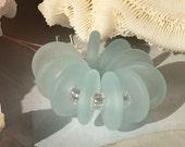 Handmade Lampwork Glass Beads SRA Frosted Aqua Sea Glass Discs (10)