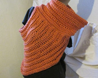 Salmon Cowl Neck Asymmetrical Vest/Katniss Everdeen Style Sweater