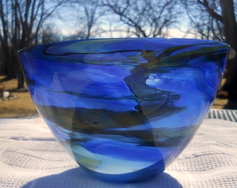 """Contemporary Abstract Glass Bowl - SCOTT SIMMONS - Studio Art Glass Hand Blown 10"""" Round shades of blue - Signed"""