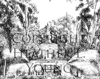 Savannah Forsyth Park Fountain - Pen and Ink Black and White Fine Art Print