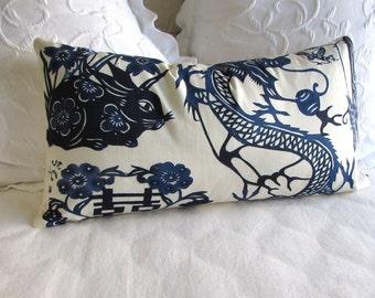 Blue Dragon  13x25 pillow cover ooak