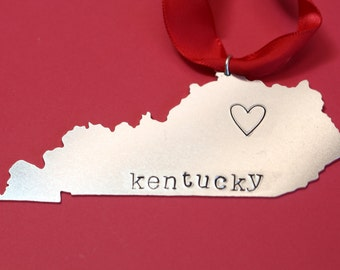 Personalized Kentucky State Christmas Tree Ornament - Custom Outline Ornament Xmas Gift - Aluminum Hand Stamped Holiday - 2016
