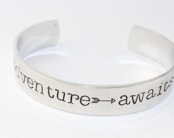 Adventure Awaits Graduation Silver Cuff Bracelet - Gift for Graduate - College or High School - 2017