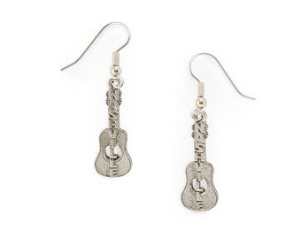 Nashville Guitar Charm Earrings silver pewter charms surgical steel earwires lead-free USA-made