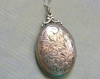 Vintage Sterling Silver Birks Locket With Etched Flower, Vintage Sterling Locket, New Mom Gift, Old Birks Locket  (#L267)