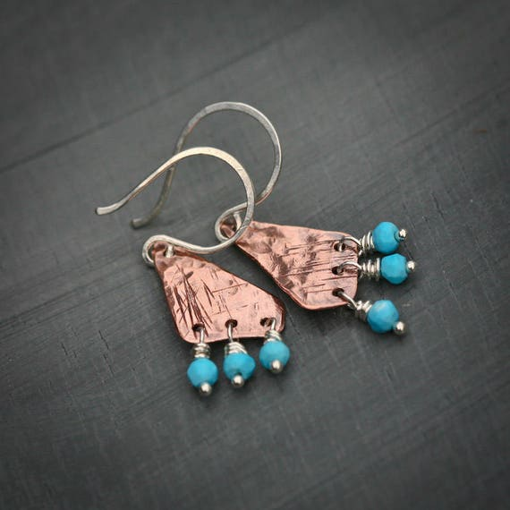 Textured Copper Polygons with Turquoise Dangles Sterling Silver Earrings