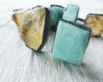 ON SALE Raw citrine ring | Amazonite ring | Rough citrine ring | Multistone ring | Organic stone jewelry | Chunky stone ring | Metaphysical