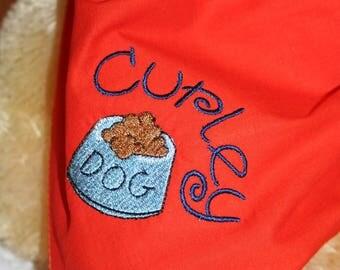 Dog Food Dog Scarf, Pet Scarf, Appliqued and Embroidered Orange Dog Scarf