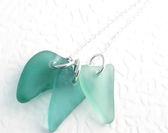 Teal Sea Glass Necklace, Green Natural Beachglass Jewelry, Tropical Resort Wear