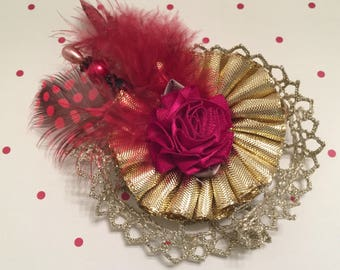 Shabby Chic Rosette, Handmade Flower, Lace Flower, Feather, Decoration, Embellishment, Hair Accessory, Package Topper, Hat Flower, Stickpin