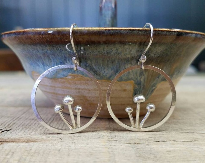 Mushroom Hoop Earrings