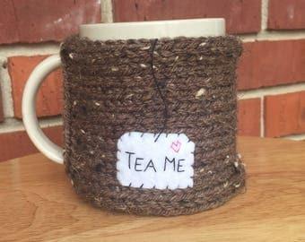 Knitted tea mug cozy tea cup cozy in barley brown