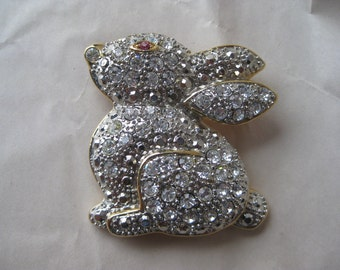 Chunky Rabbit Bunny Brooch Gold Rhinestone Vintage Pin Clear Easter Pink