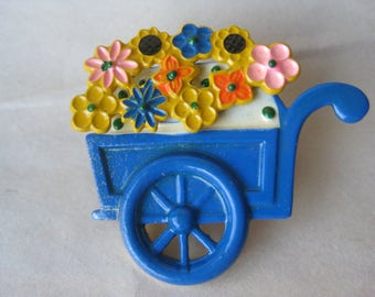 Flower Cart Brooch Blue Yellow Pink Vintage Pin Spring