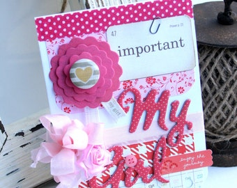 shabby chic card-IMPORTANT my GIRL-LIFE all occasion greeting