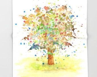 Throw Blanket, Fleece Blanket, Sofa Throw, Landscape 466 tree watercolor art painting Lucie Dumas