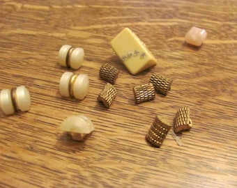 Wow...Lowered ..Lot of 12 Tiny Vintage  Buttons, Gold Metal Buttons, Plastic and Unknown ..shanks