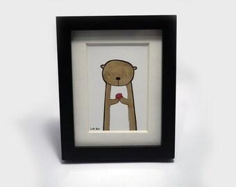 Mini Original - Otter Illustration, Hand drawn