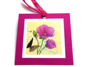 8 Gift Tags,  Flowers and Butterfly in Fuchsia, Handmade Hang Tags, Merchandise Tags, Party Favor,