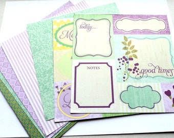 Scrapbooking Card stock 6x6 Inch, 15 Double Sided Sheets, Purple, Lavender, Teal, Green, Scrap Booking, Card Making